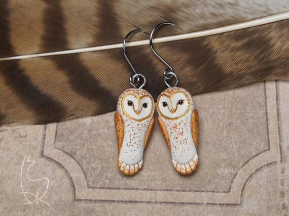 Barn Owl Earrings Little Owls earrings Miniature Animal Jewelry Animal Totem White Golden Birds