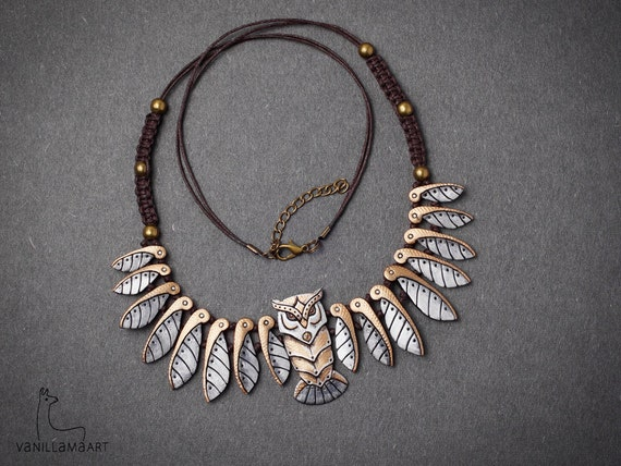 Owl Necklace Rusty Steampunk style Metallic Owl Animal Jewelry Mechanical Bird Totem