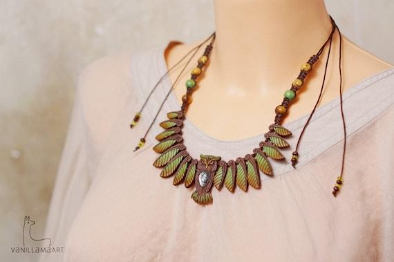 Owl Necklace Forest Woodland Totem Wisdom Owl Bird Wings Nature Leaf Animal Jewelry
