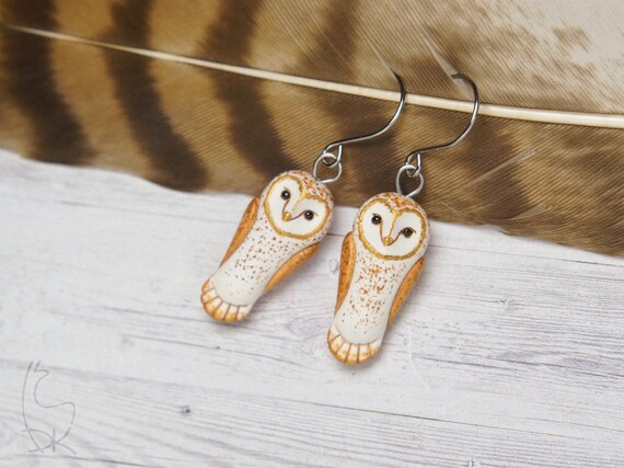 Barn Owl Earrings Little Owls earrings Miniature Animals Jewelry Animal Totem White Golden Birds