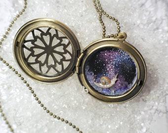 Cosmic Snail Galaxy Locket Pendant Rustic Fantasy Jewelry round