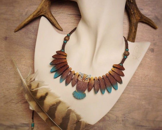 Owl Necklace Animal Totem Leaf Forest Wings Turquoise Feathers Warm Colors