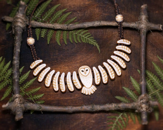 Barn Owl Necklace Animal Bird Totem White Golden Owls  Wings Jewelry