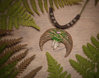 Lunula Necklace Crystal Magic Pendant Fantastic Nature Woman