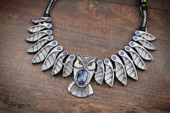 Owl Necklace Mechanical Galaxy Bird Animal Jewelry Totem Wisdom Owl Wings Feathers