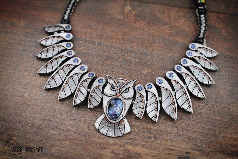 Owl Necklace Mechanical Galaxy Bird Animal Jewelry Totem image 0