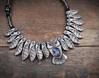 Owl Necklace Mechanical Galaxy Bird Animal Jewelry  Wisdom Owl Wings Feathers