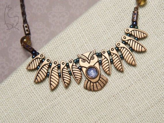 Owl Necklace Mini Bronze Galaxy Keeper Bird Animal Totem Wisdom Owl Wings Jewelry