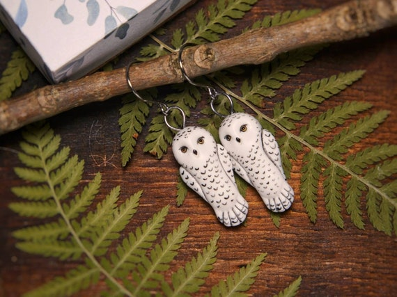 Snowy Owl Earrings Snow White Owls Boho Animal Jewelry Magic Totem