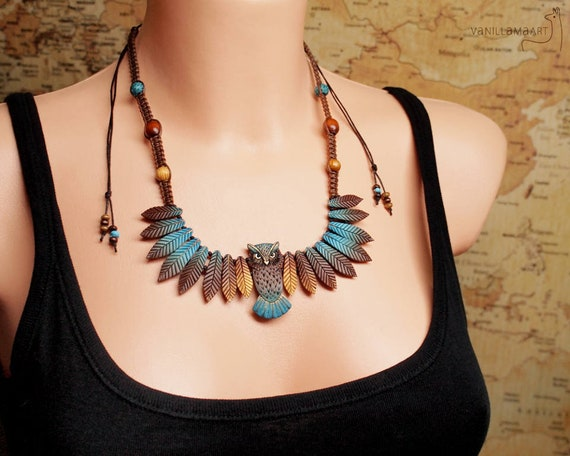 Owl Necklace Animal Totem Leafy Wings Turquoise Feathers Autumn Colors