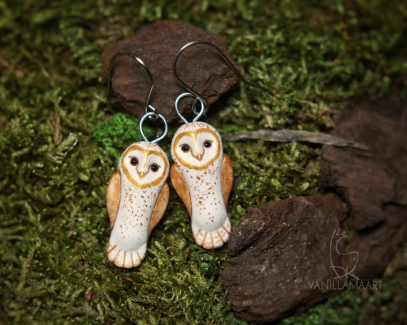Barn Owl Earrings Owls Animal Bird Jewelry Totem