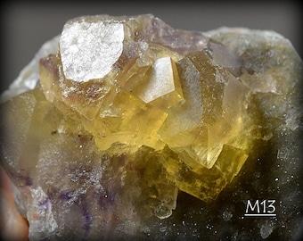 Bright Yellow Clear Fluorite on Quartz, on Matrix, Miniature, from the Yaogangxian Mine, Hunan Province, China