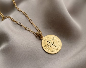 Bizantine cross pendant necklace made in sterling silver gold filled in 24k gold, made by hand in Paris, France