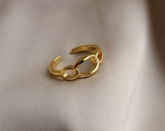 Adjustable chain ring bathed in 24k gold or palladium, made by hand in Paris, France