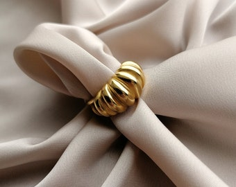 Twisted chunky ring (turban style) gold filled in 24k or palladium, open ring adjustable