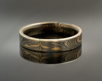 d707ccedd Mokume Gane Ring or Wedding Band in Spark Palette and Echo Pattern