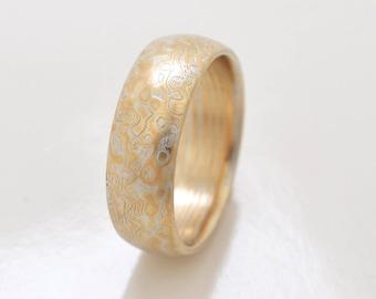 5c86c8be5 Mokume Gane Ring Wedding Band Twist/Droplet Pattern in Spark Palette