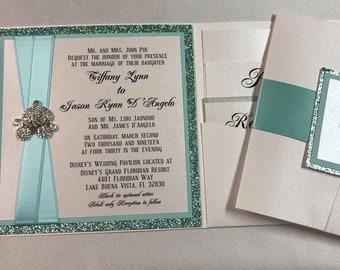 Elegant Disney Princess Pocket Wedding invitation Set, in Glitters & metallics papers for a Classic invite