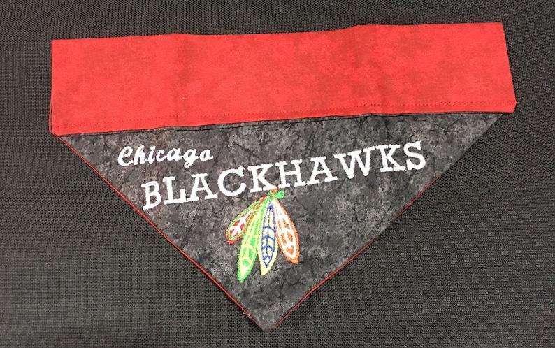 Dog Bandana Chicago Blackhawks  Over the Collar Dog Bandana  Personalized Bandana  Blackhawks Bandana  Blackhawks Dog Bandana