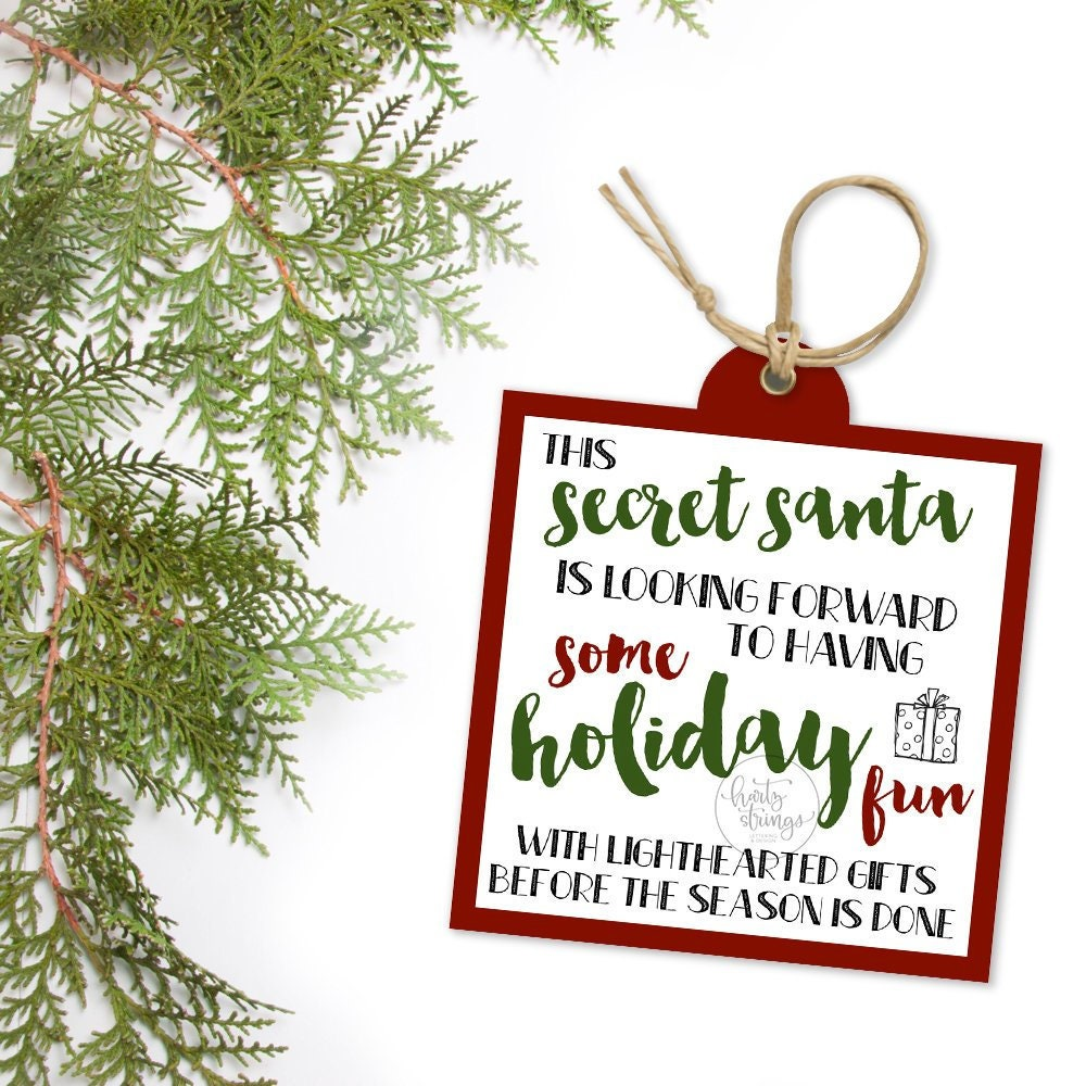 This is an image of Revered Secret Santa Tags Printable