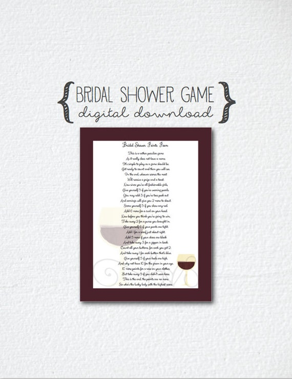 Wine theme bridal shower poem points game poem etsy filmwisefo
