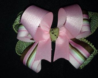 Pink and Tan Burlap Bow