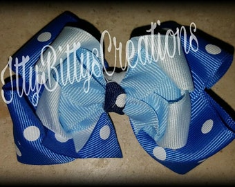 Blue Multi Colored Hair Bow