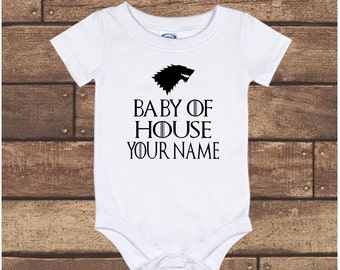 161c89cad3a Game of Thrones Custom Baby of House - Pregnancy Announcement - baby Onesie  bodysuit - long sleeve - short sleeve - Newborn to 24 Months