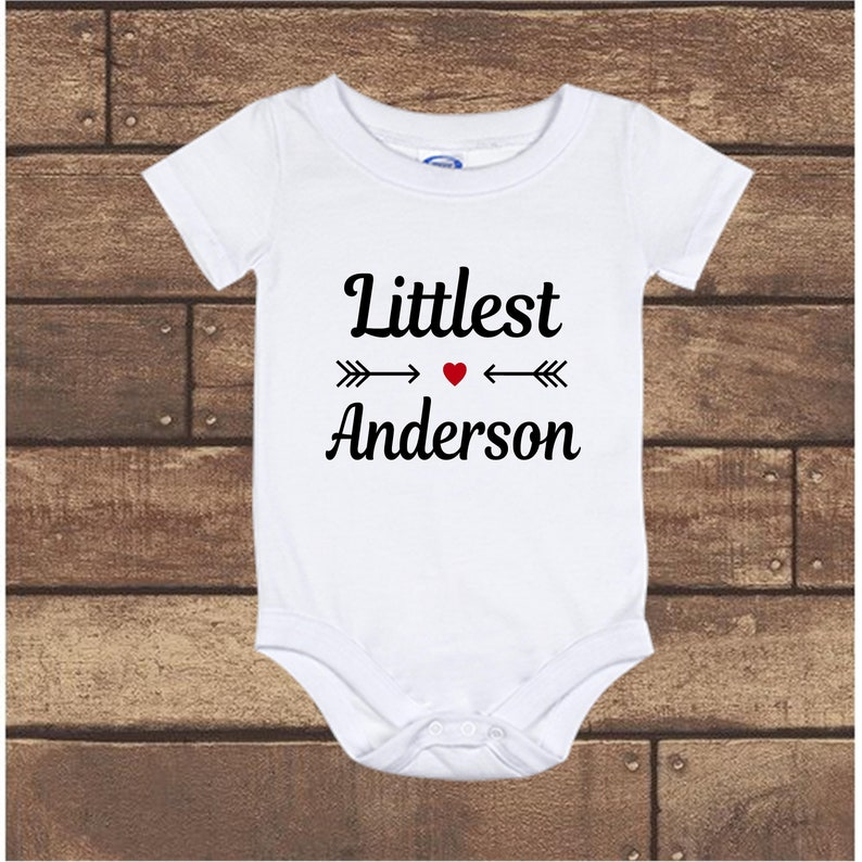Newborn to 24 Months baby Onesie bodysuit Personalized Littlest YOUR LAST NAME Pregnancy Announcement long sleeve short sleeve