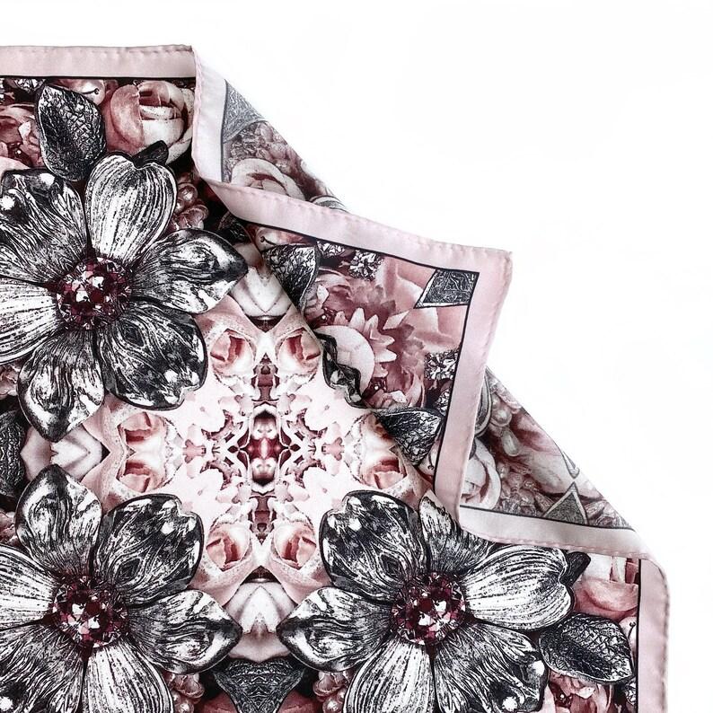 Pink Dark Metal Orchid Silk Pocket Square