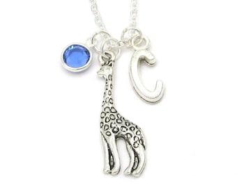 Giraffe Necklace- birthstone and initial, Giraffe Jewelry, Giraffe Gift, Giraffe Charm Necklace, Giraffe Birthstone, Personalize Custom Gift