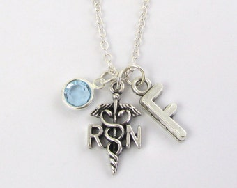 RN Necklace- choose a birthstone and initial, RN Jewelry, RN Gift, Personalized Rn, Nurse Necklace, Nurse Jewelry, Registered Nurse Gift