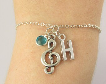 Treble Clef Bracelet- choose a birthstone and initial, Treble Clef Jewelry, Music Bracelet, Music Jewelry, Music Gift, Piano Teacher Gift