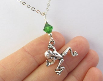 Frog Necklace- choose a birthstone, Frog Jewelry, Frog Gift, Frog Charm Necklace, Frog Charm Jewelry, Frog Pendant, Silver Frog Necklace
