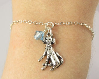Dalmatian Bracelet- choose a birthstone, Dog Bracelet, Dalmatian Jewelry, Dog Jewelry, Silver Dog Bracelet, Dalmatian Gift, Dalmatian Charm