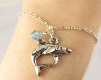 Shark Bracelet- choose a birthstone, Shark Charm Bracelet, Shark Jewelry, Birthstone Shark Bracelet, Shark Gift, Shark Birthstone, Shark