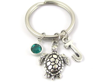 Turtle Keychain- choose a birthstone and initial, Turtle Key Ring, Turtle Gift, Turtle Charm Keychain, Personalized Turtle, Initial Keychain