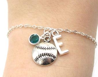 Baseball Bracelet- birthstone and initial, Baseball Jewelry, Baseball Mom, Baseball Gift, Personalized Baseball, Baseball Charm Gift for Her