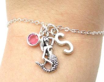 Mermaid Bracelet- choose a birthstone and initial, Mermaid Jewelry, Silver Mermaid Bracelet, Personalized Mermaid, Mermaid Accessories
