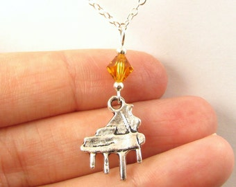Piano Necklace- choose a birthstone, Piano Pendant, Piano Jewelry, Pianist Gift, Piano Teacher Gift, Piano Mom, Music Pendant, Music