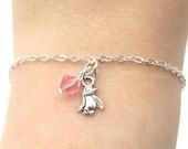 Penguin Bracelet- choose a birthstone, Penguin Jewelry, Penguin Charm Bracelet, Penguin Gift, Silver Penguin Bracelet, Tiny Penguin Birthday