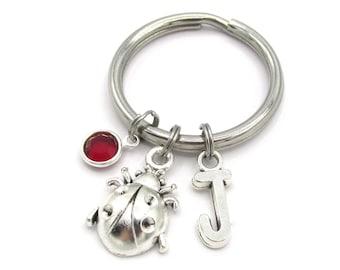 Ladybug Keychain- birthstone and initial, Ladybug Keyring, Ladybug Gift, Ladybug Birthday, Ladybird Keyring, Ladybug Accessories, New Driver
