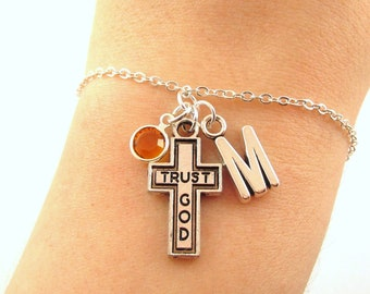 a0c8e579ae3 Trust God Bracelet- choose a birthstone and initial, Trust God Jewelry,  Christian Bracelet, Christian Charm Bracelet, Trust in God Gift