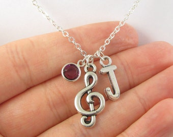 Treble Clef Necklace- choose a birthstone and initial, Treble Clef Jewelry, Music Necklace, Music Jewelry, Personalized Music, Music Gift