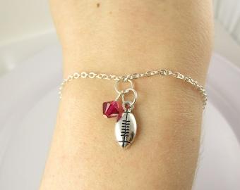 Football Bracelet- choose a birthstone, Football Jewelry, Football Charm, Football Birthstone, Football Mom, Football Gift, Football Gift