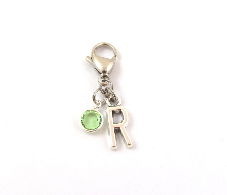 Personalized Zipper Pull Choose A Birthstone And Initial Personalized Zipper Charm Personalized Gift Bag Pull Purse Zipper Pull Gift