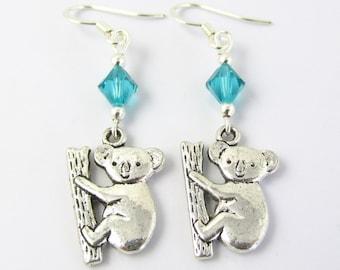 Koala Earrings- choose a birthstone, Koala Birthstone, Koala Jewelry, Koala Gift, Koala Charm Earrings, Silver Koalas, Koala Charm Earrings