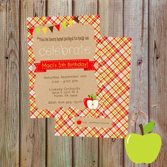 Apple Orchard Birthday Invitation Themed Party Invite