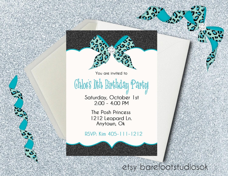Cheetah and Turquoise Birthday Invitation Glitter Cheetah and | Etsy