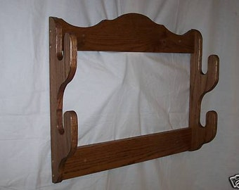 2 Gun Rack ~ Wall mount gun display rack ~ Red oak with walnut or golden oak stain, or unfinished